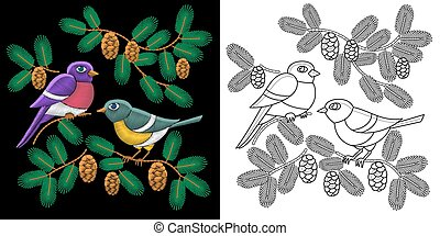 Embroidery birds design. Collection of fancywork elements...
