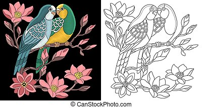 Embroidery budgie parrots design - Embroidery parrots...