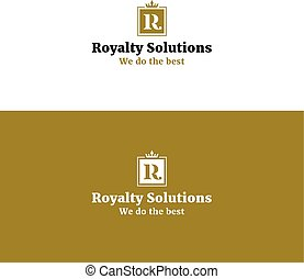 Royal abstract R letter logo with crown.