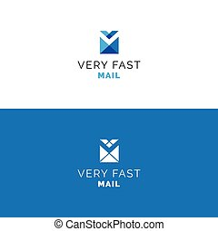 Abstract V letter envelope logo. Mail minimalistic vector...