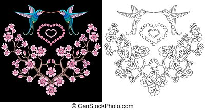Embroidery hummingbird and sakura design. Collection of...