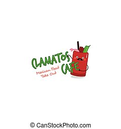 Funny clamatos logo. Mexican tomatoes soup mascot for...