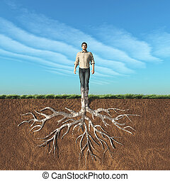 Image of a man that has taken root in the ground. This is a...
