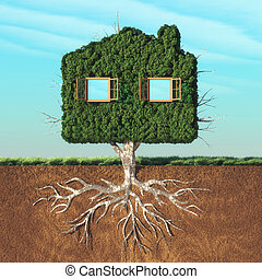 House shaped green tree with roots underground. This is a 3d...
