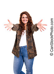 Let me hug you! - Studio shot of a young woman offering a...