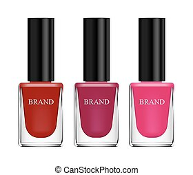 Set of cosmetics, nail polish, red, pink and purple, glass bottle on a white background. 3d vector realistic, isolates