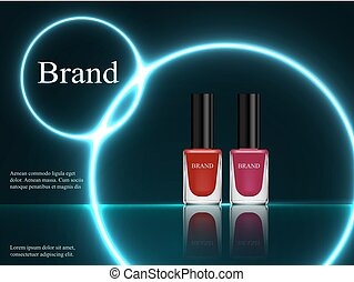 Design of cosmetics, set, nail polish red and purple on a dark background with blue neon light. Advertising, banner, glamor, luxury, 3d vector realistic