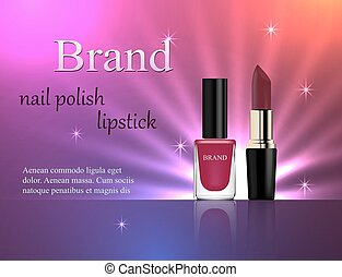 Cosmetics, violet nail polish and lipstick on a gentle bright background with light rays, advertising, banner, glamor, luxury, 3d vector realistic, design
