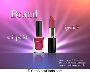 Cosmetics, gentle pink nail polish and lipstick on a bright violet background with light rays, advertising, banner, glamor, luxury, 3d vector realistic, design