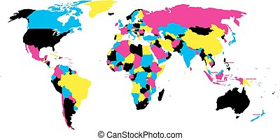 Political map of World in CMYK colors with country name labels. Isolated on white background. Vector illustration