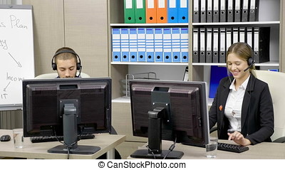 Working at customer support line. Talking to the client....