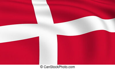 Flying Flag of DENMARK | LOOPED |