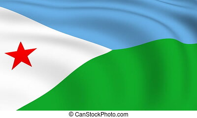Flying Flag of DJIBOUTI | LOOPED |