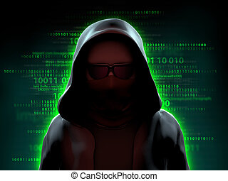 Hacker over a code background - Mysterious hacker standing...
