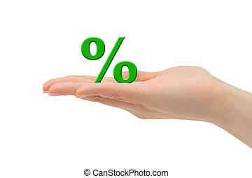 Hand and percentage symbol isolated on white background