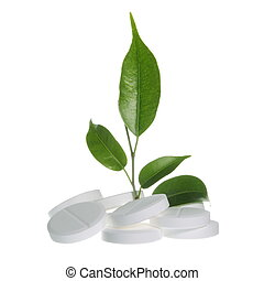 Herbal Medicine Concept on White - Pills with Leaf as Herbal...