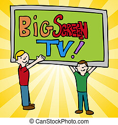 Big Screen Television - An image of a men moving a big...
