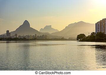 Dusk in lagoon on Rio de Janeiro