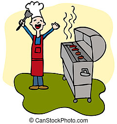 Chef Man Cooking Barbecue Grill - An image of a man cooking...