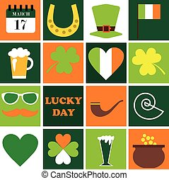 Happy St. Patrick Day. Set of holidays icons.