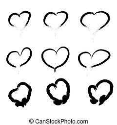 Set Of Scribbled Hearts. Vector grunge style icons collection. Vector illustration of the brush hand drawn sketchy hearts on the white background.