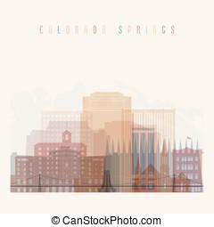Colorado Springs state Colorado skyline detailed silhouette.