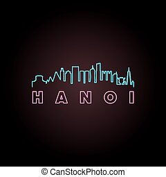 Hanoi skyline neon style in editable vector file.