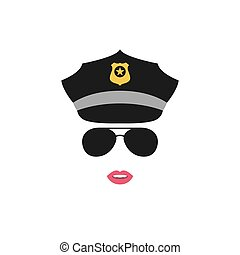 Police Woman avatar. Police icon.
