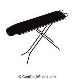 Ironing board. Dry cleaning single icon in black style...