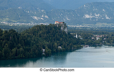 castle over lake Bled Slovenia - castle on the rock over...
