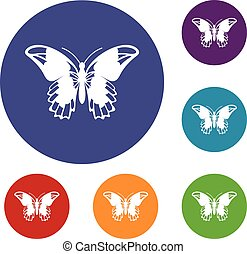 Admiral butterfly icons set in flat circle reb, blue and...
