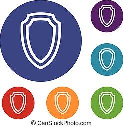 Army shield icons set