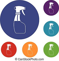 Spray icons set in flat circle reb, blue and green color for...