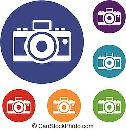 Photocamera icons set in flat circle reb, blue and green...