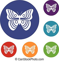 Stripped butterfly icons set in flat circle reb, blue and...