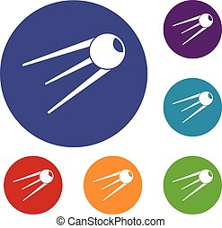 Sputnik icons set in flat circle reb, blue and green color...