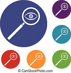 Magnifying glass icons set in flat circle reb, blue and...