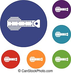 Measuring centimeter icons set in flat circle reb, blue and...