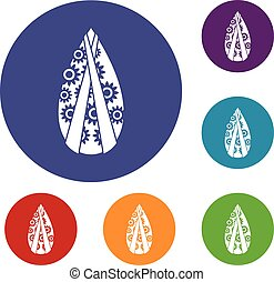 Memorial wreath icons set in flat circle reb, blue and green...