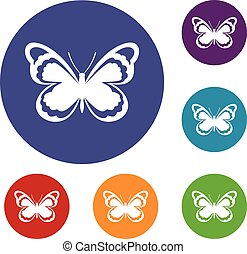 Small butterfly icons set in flat circle reb, blue and green...
