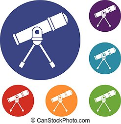 Space telescope icons set in flat circle reb, blue and green...