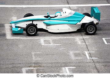 Grand Prix Racing Car - Grand prix racing car at starting...