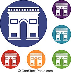 Triumphal arch icons set in flat circle reb, blue and green...