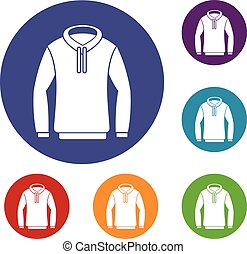 Hoody icons set in flat circle reb, blue and green color for...