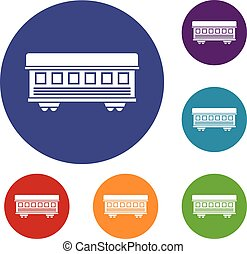 Passenger train car icons set in flat circle reb, blue and...