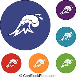 Surf wave icons set