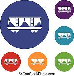 Freight railroad car icons set in flat circle reb, blue and...