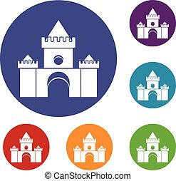 Fairytale castle icons set