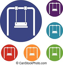 Swing icons set in flat circle reb, blue and green color for...