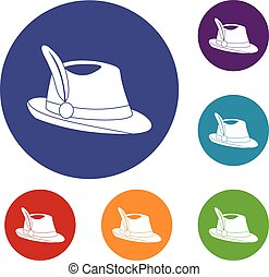 Irish hat icons set in flat circle reb, blue and green color...